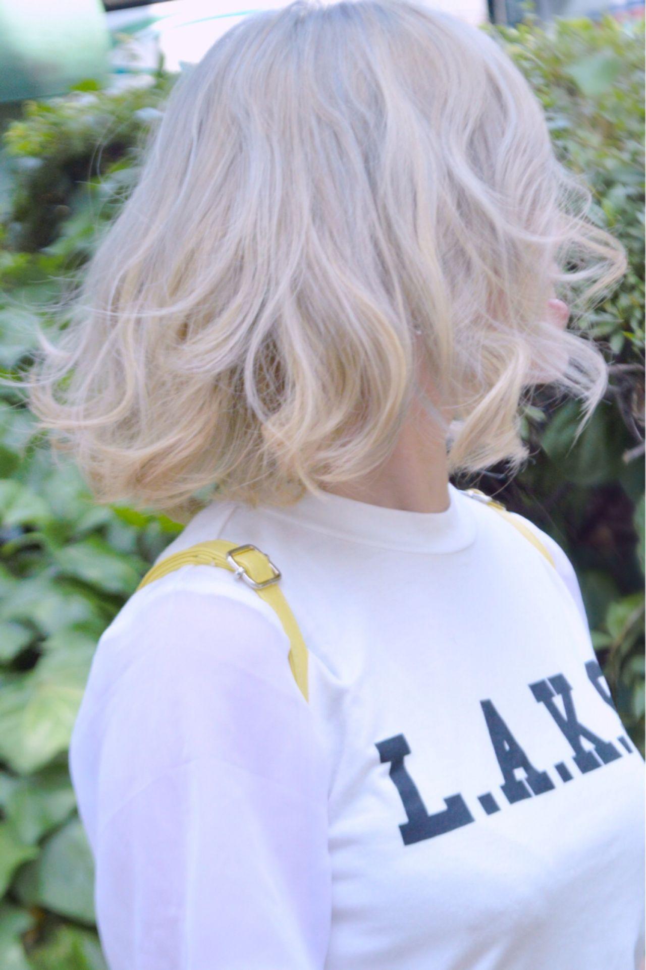 渋谷系 ボブ ストリート ホワイト ヘアスタイルや髪型の写真・画像