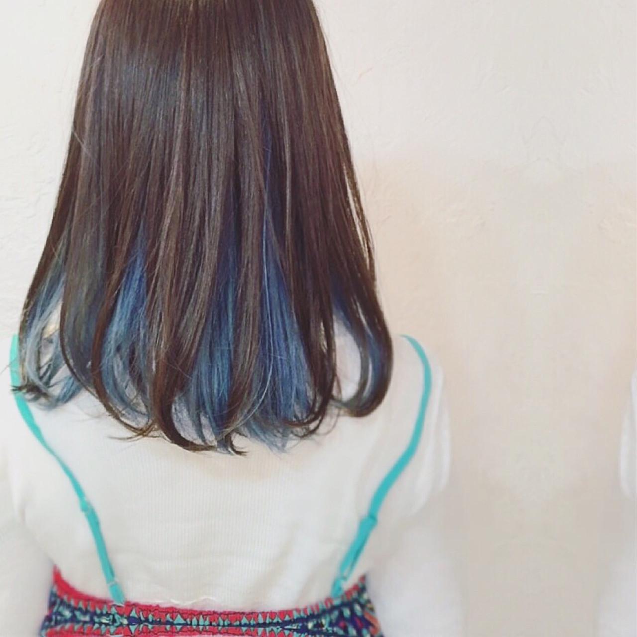 ブルー ブルーアッシュ ミディアム アッシュ ヘアスタイルや髪型の写真・画像