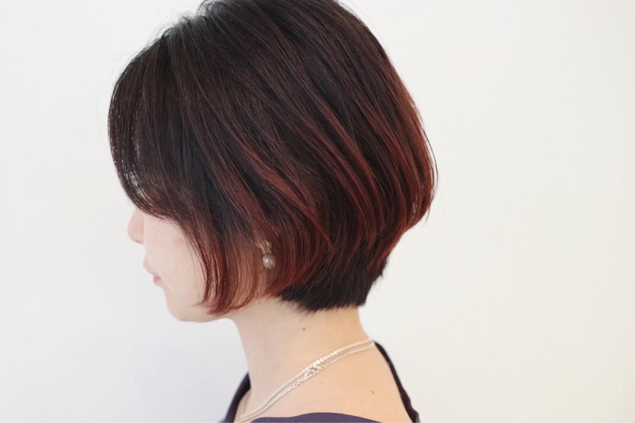 外国人風 インナーカラー グラデーションカラー ショート ヘアスタイルや髪型の写真・画像