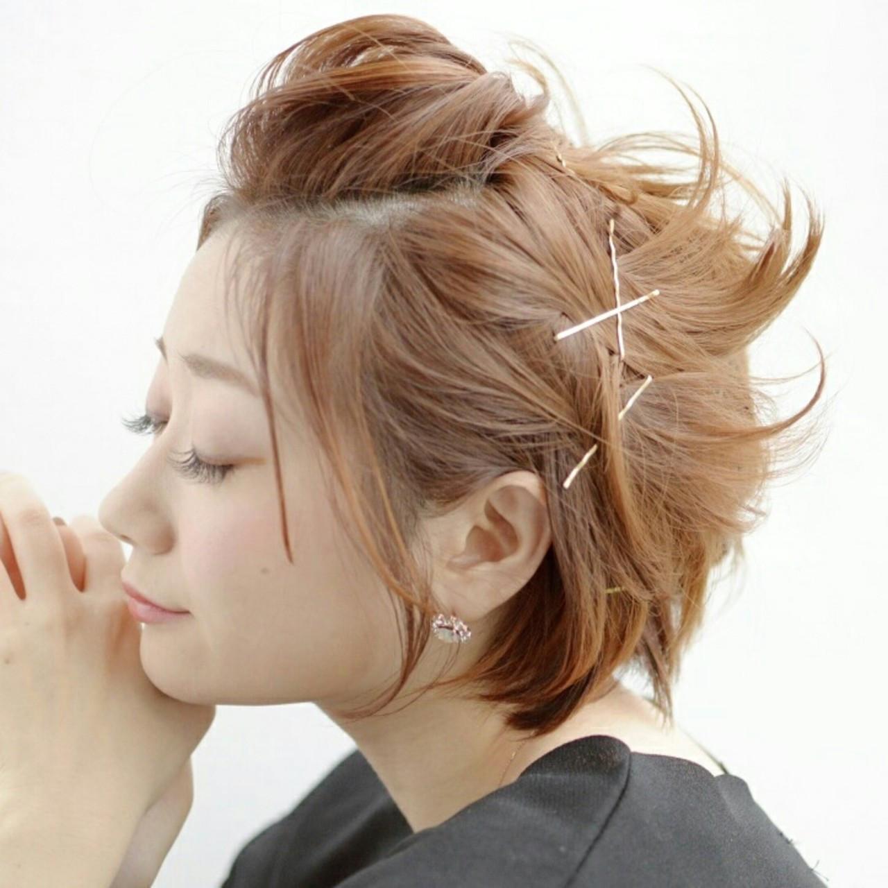 簡単ヘアアレンジ アッシュ ポンパドール ヘアピン ヘアスタイルや髪型の写真・画像