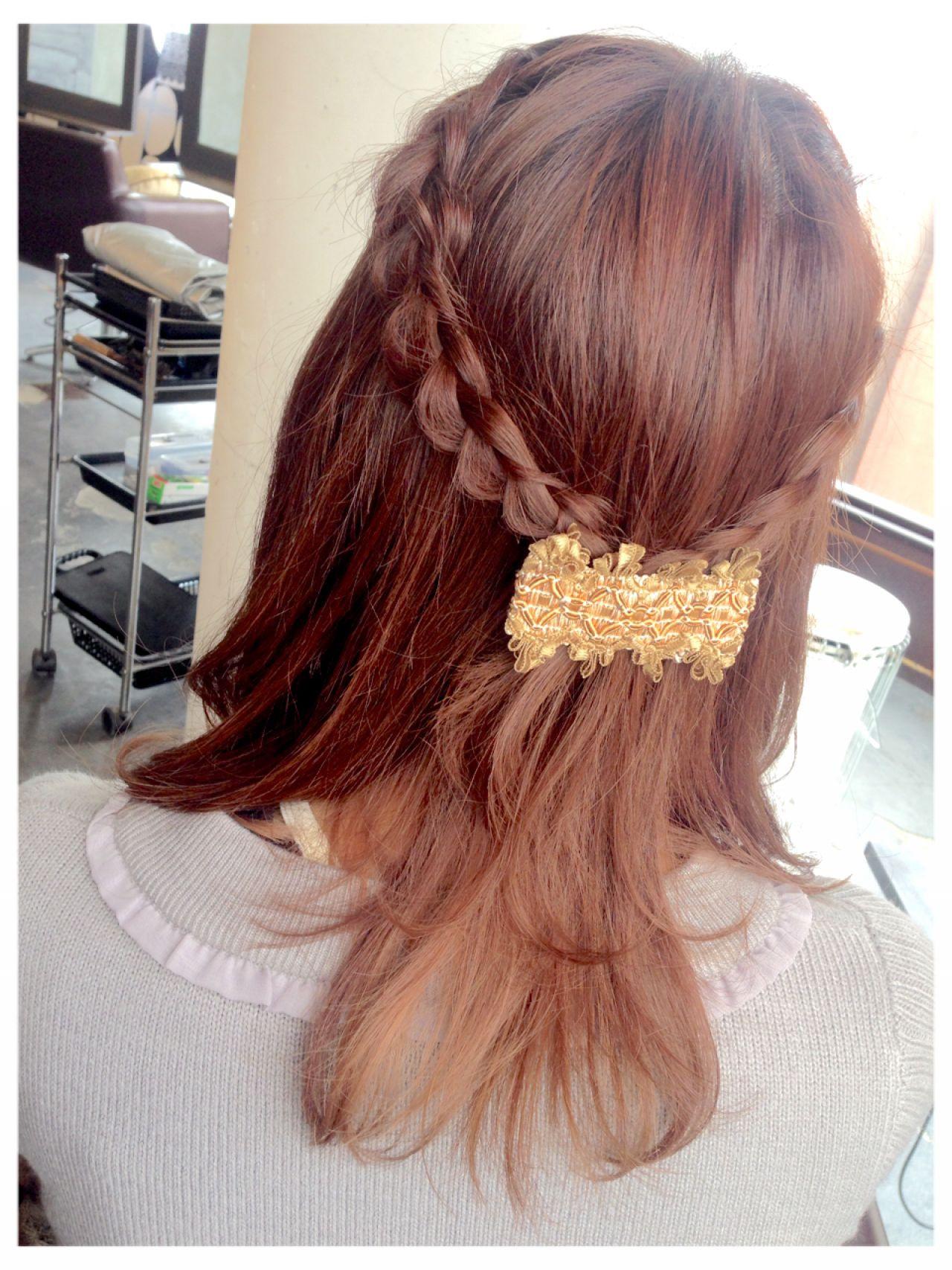 ガーリー 簡単ヘアアレンジ フェミニン ヘアアレンジ ヘアスタイルや髪型の写真・画像