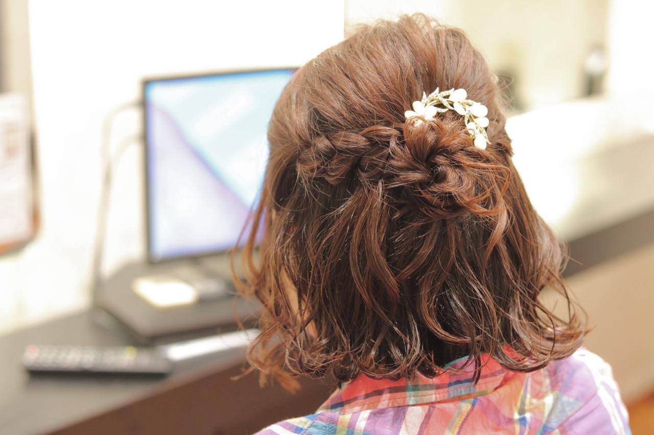 簡単ヘアアレンジ ボブ 波ウェーブ ヘアアクセ ヘアスタイルや髪型の写真・画像