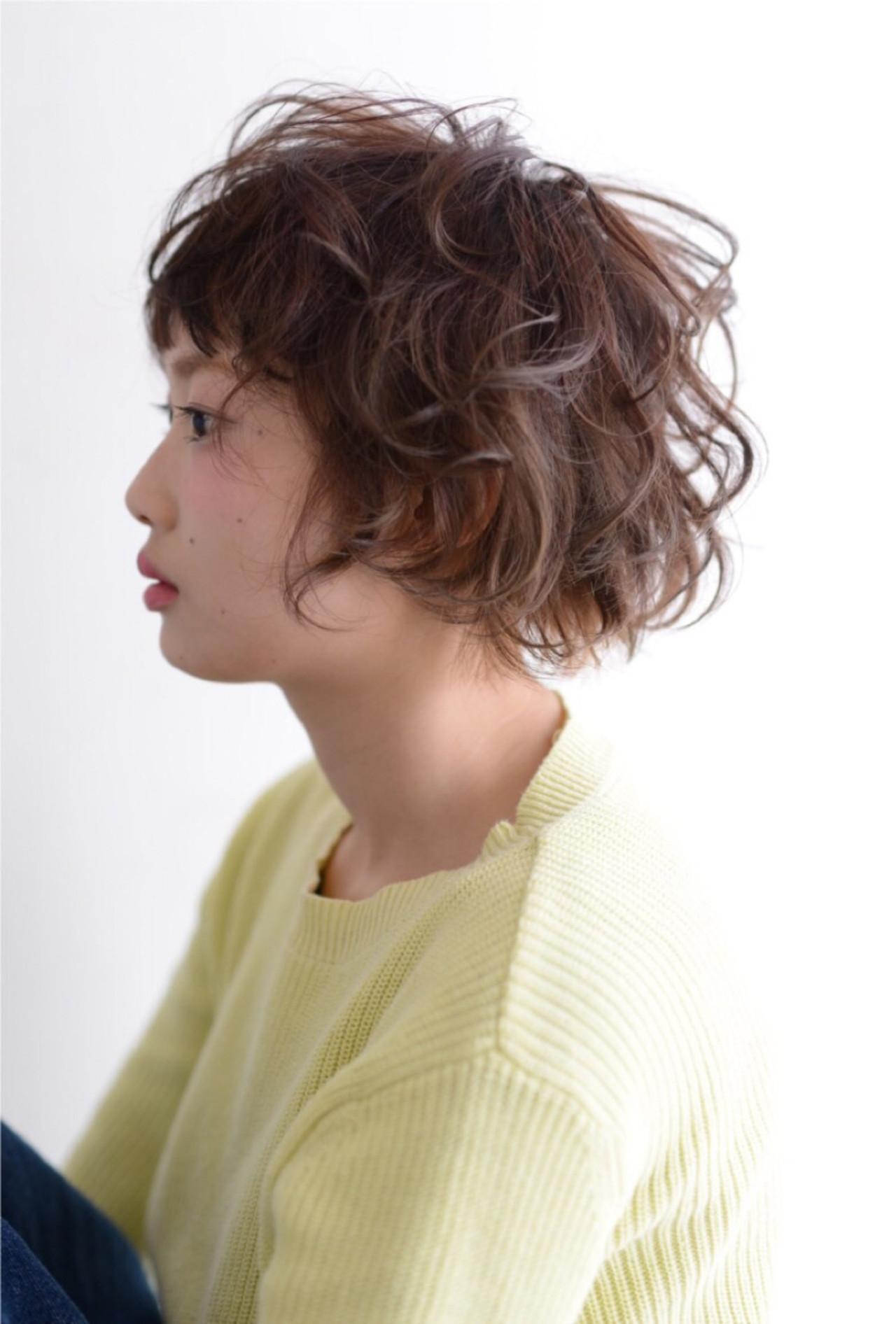 ショート ガーリー ヘアアレンジ オン眉 ヘアスタイルや髪型の写真・画像