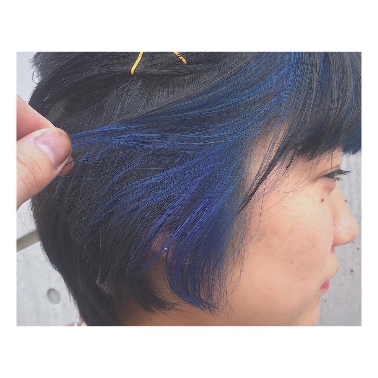 インナーカラー ガーリー ブルー アウトドア ヘアスタイルや髪型の写真・画像
