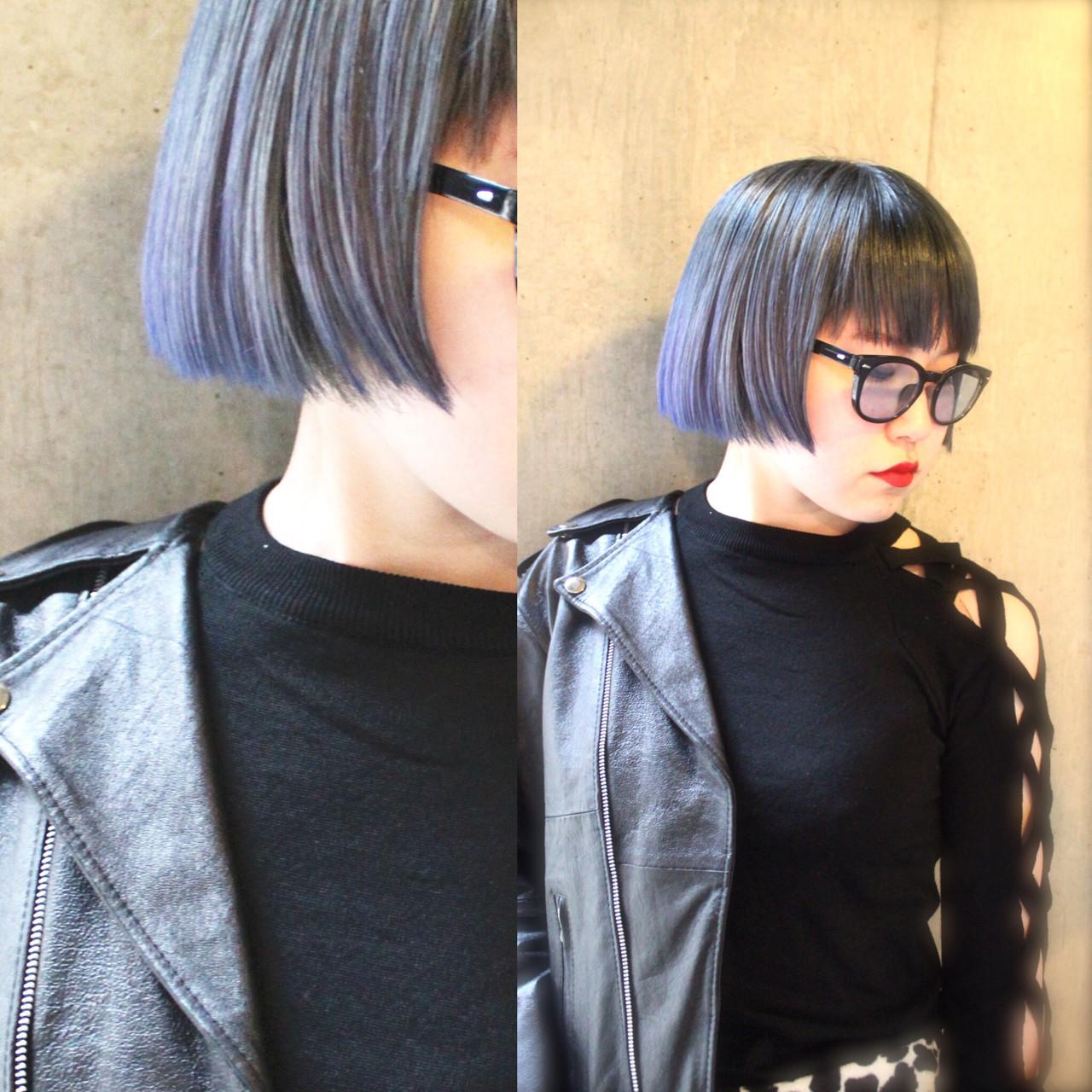 ストリート ボブ ブルーアッシュ アッシュグラデーション ヘアスタイルや髪型の写真・画像