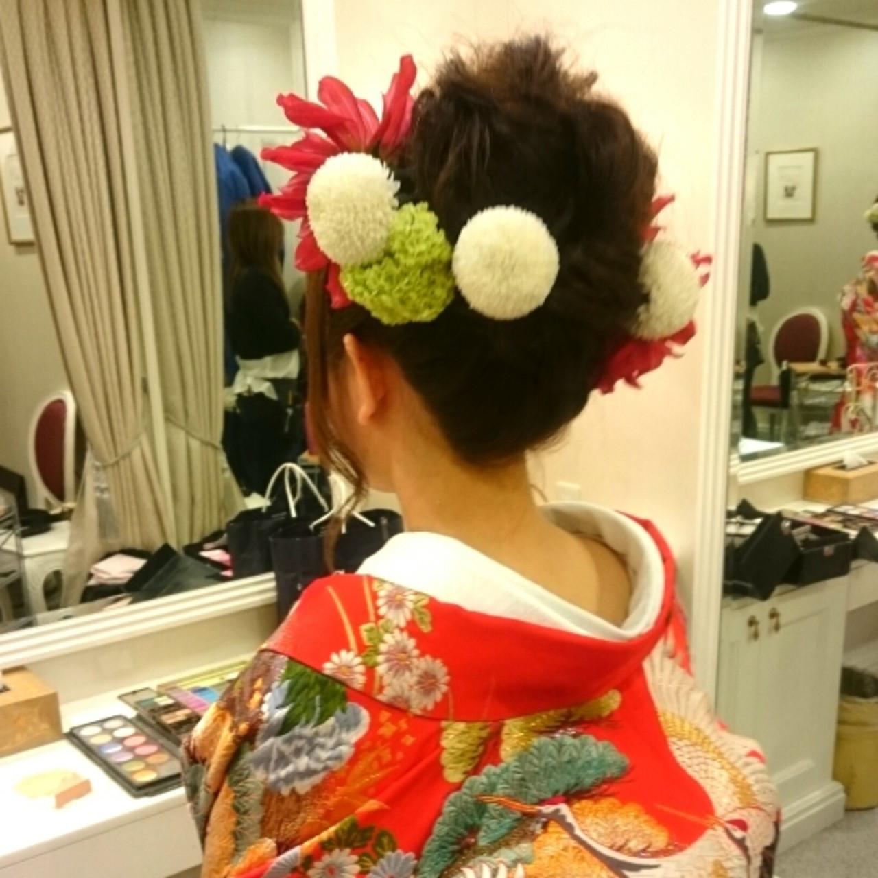 エレガント ロング ヘアアレンジ 和装 ヘアスタイルや髪型の写真・画像