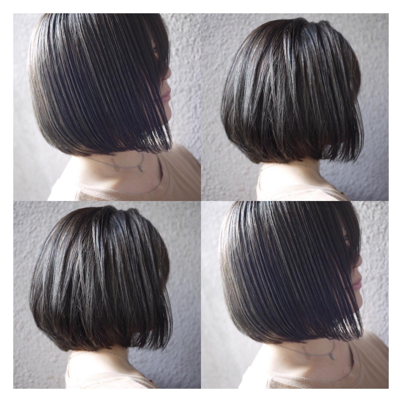 ウェットヘア グレー ボブ ストリート ヘアスタイルや髪型の写真・画像