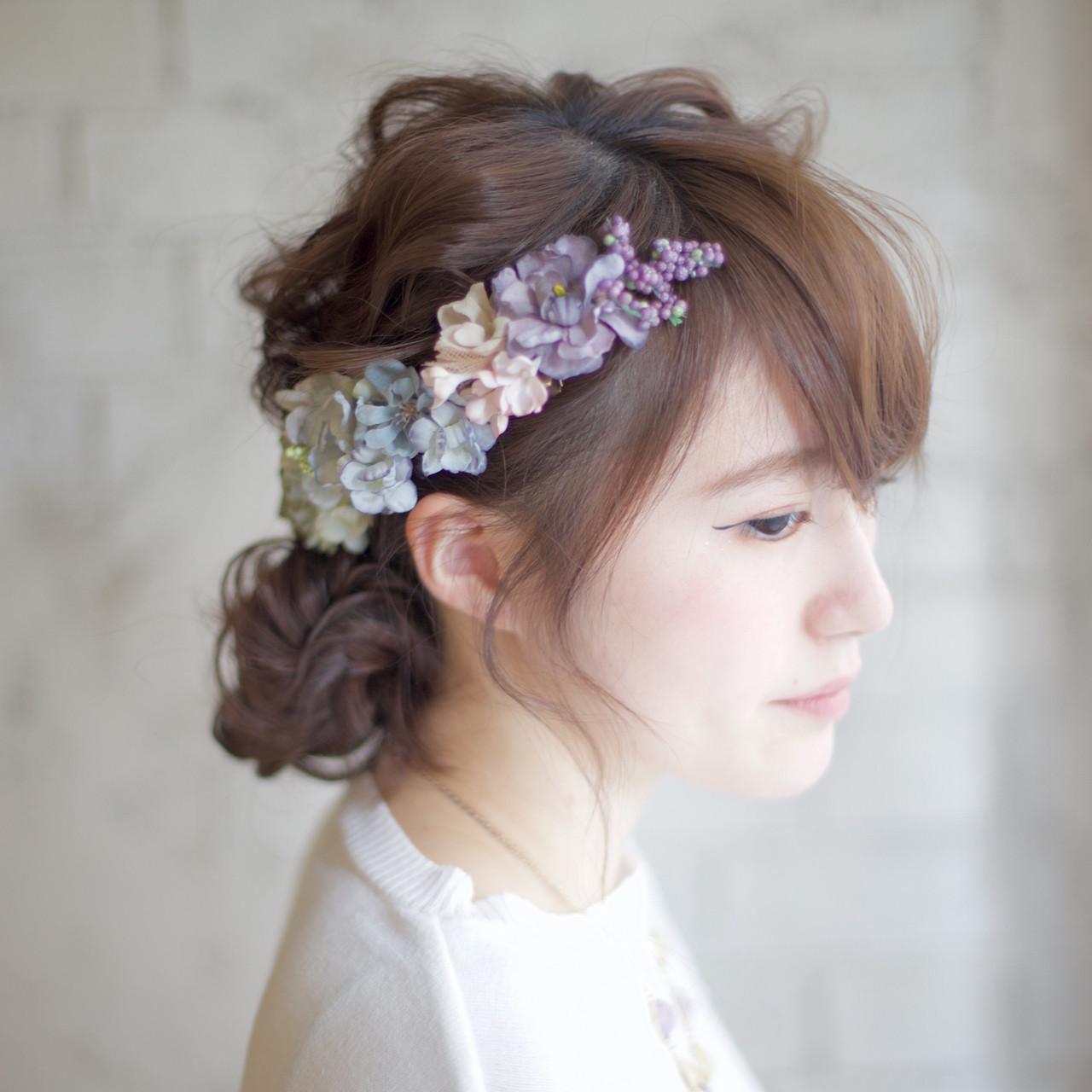 結婚式 ヘアアレンジ セミロング ショート ヘアスタイルや髪型の写真・画像