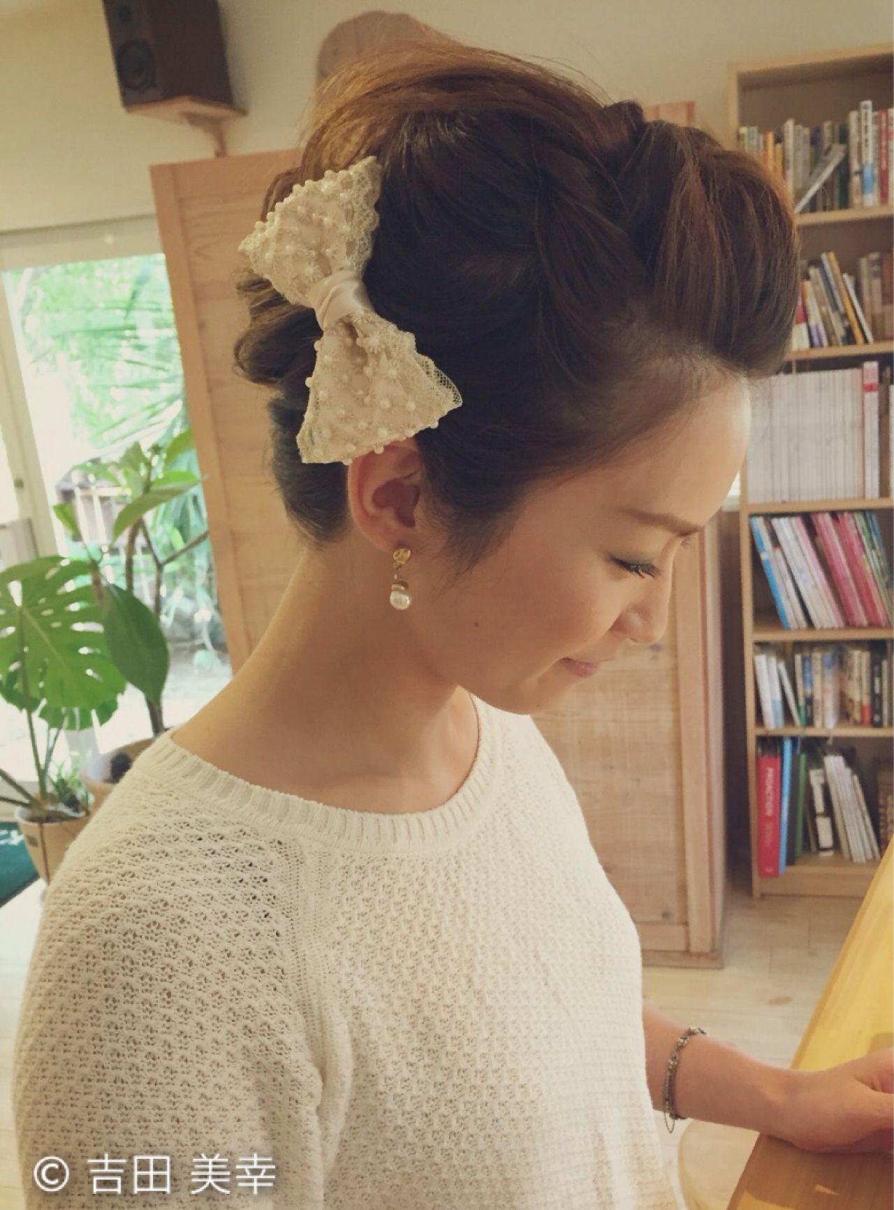ヘアアレンジ ナチュラル 結婚式 ねじり ヘアスタイルや髪型の写真・画像
