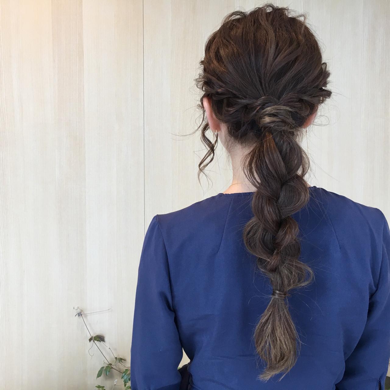 ゆるふわ 三つ編み ポニーテール 簡単ヘアアレンジ ヘアスタイルや髪型の写真・画像