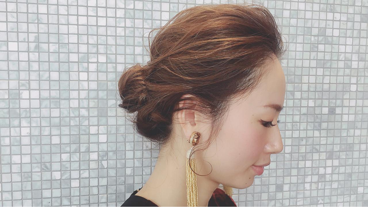 大人女子 セミロング 外国人風 シニヨン ヘアスタイルや髪型の写真・画像