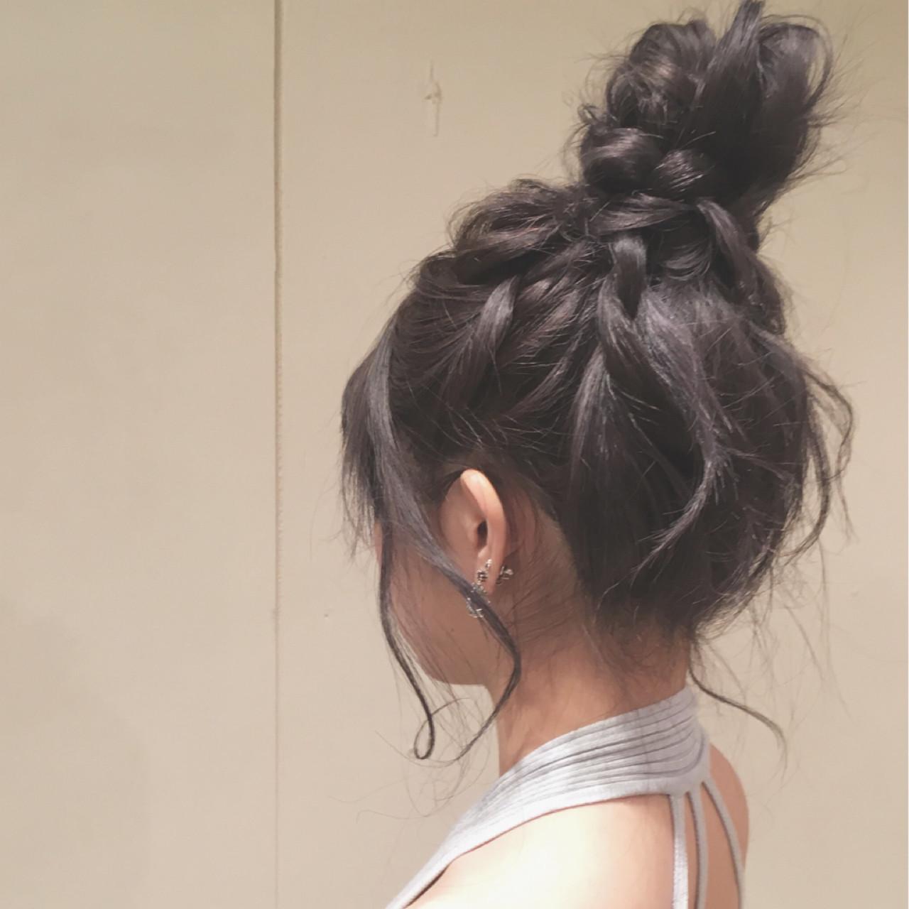 結婚式 お団子 ロング 女子会 ヘアスタイルや髪型の写真・画像