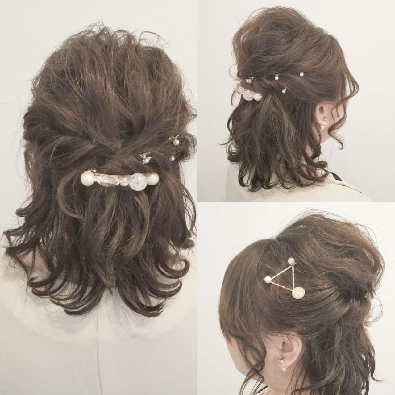 デート ミディアム ナチュラル 大人かわいい ヘアスタイルや髪型の写真・画像