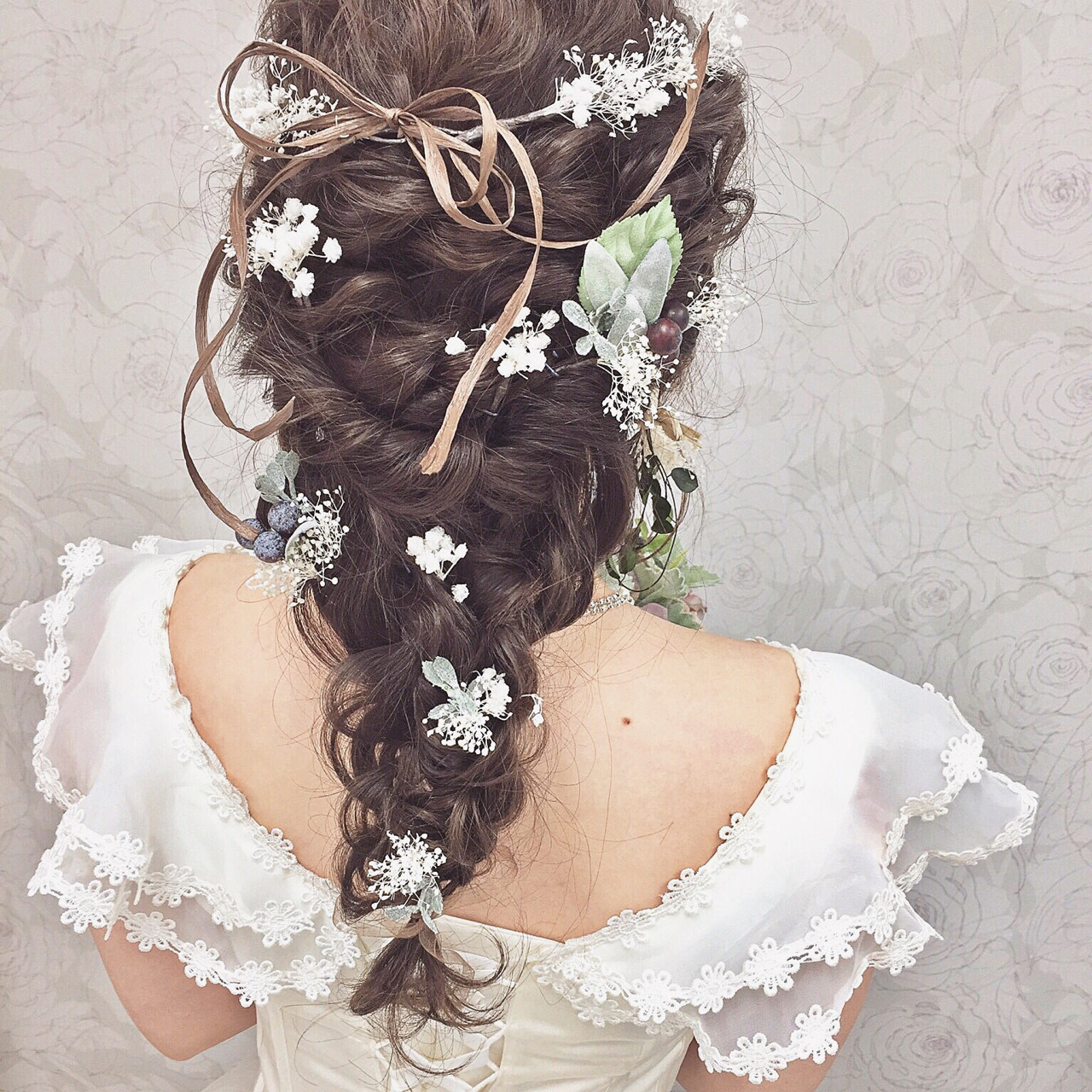 ロング ナチュラル 結婚式 ヘアアレンジ ヘアスタイルや髪型の写真・画像