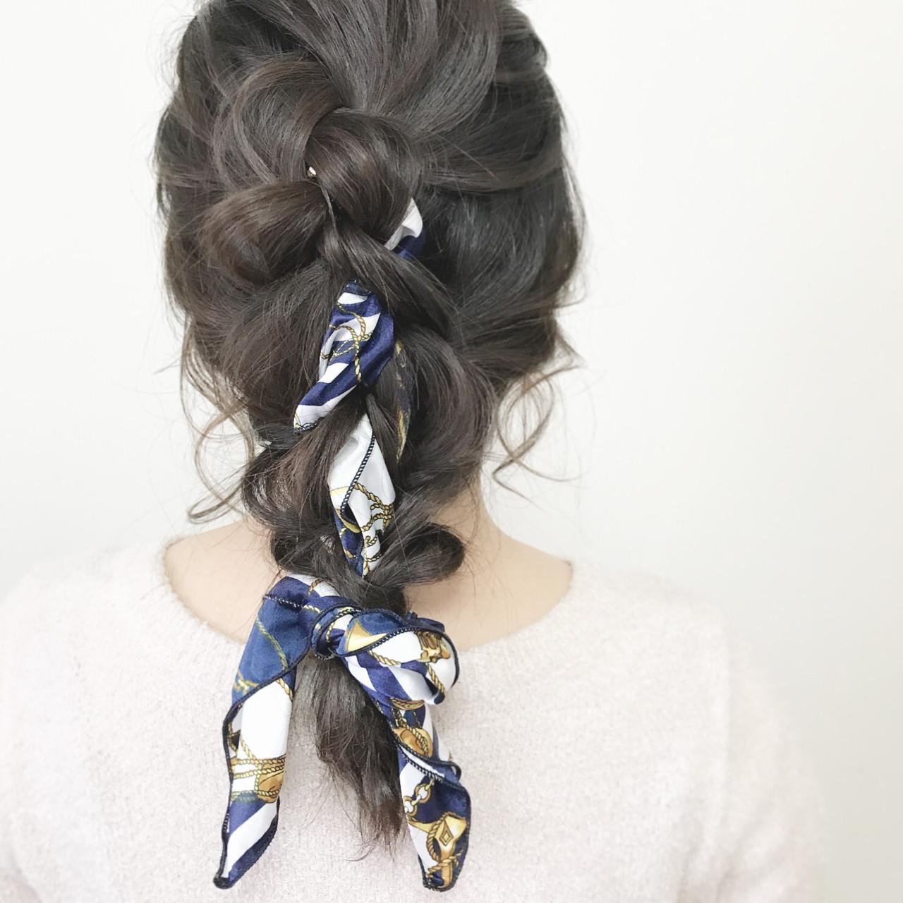 こなれ感 セミロング ヘアアレンジ エレガント ヘアスタイルや髪型の写真・画像