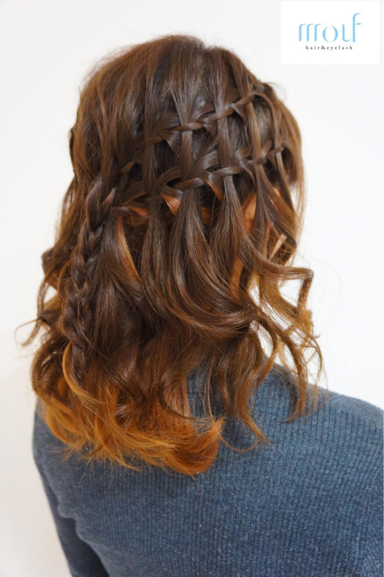 ダブルカラー ウォーターフォール ミディアム ハーフアップ ヘアスタイルや髪型の写真・画像