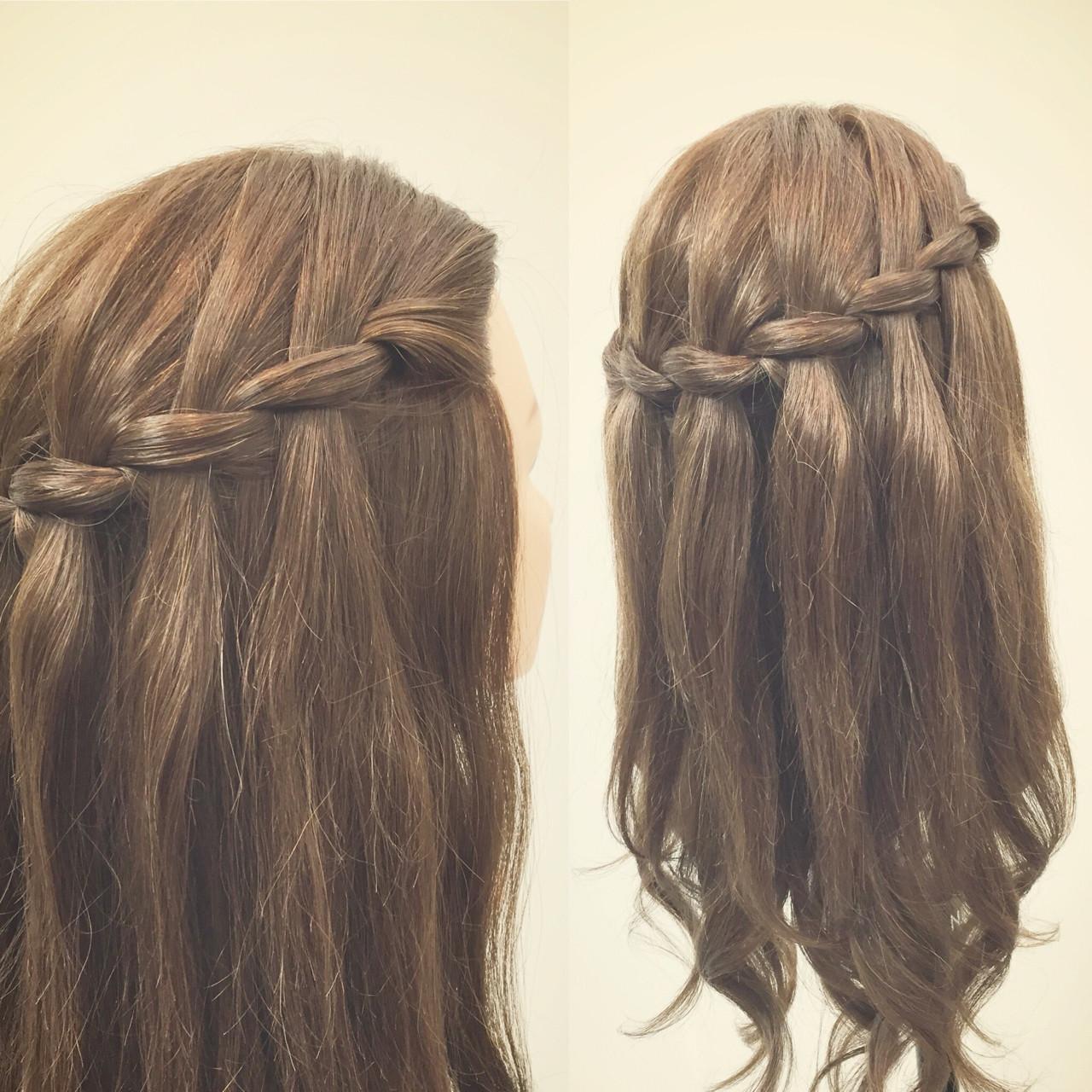 ウォーターフォール ロング ヘアアレンジ 春 ヘアスタイルや髪型の写真・画像
