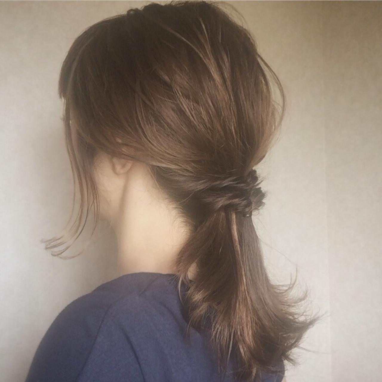デート ローポニーテール 女子会 ナチュラル ヘアスタイルや髪型の写真・画像