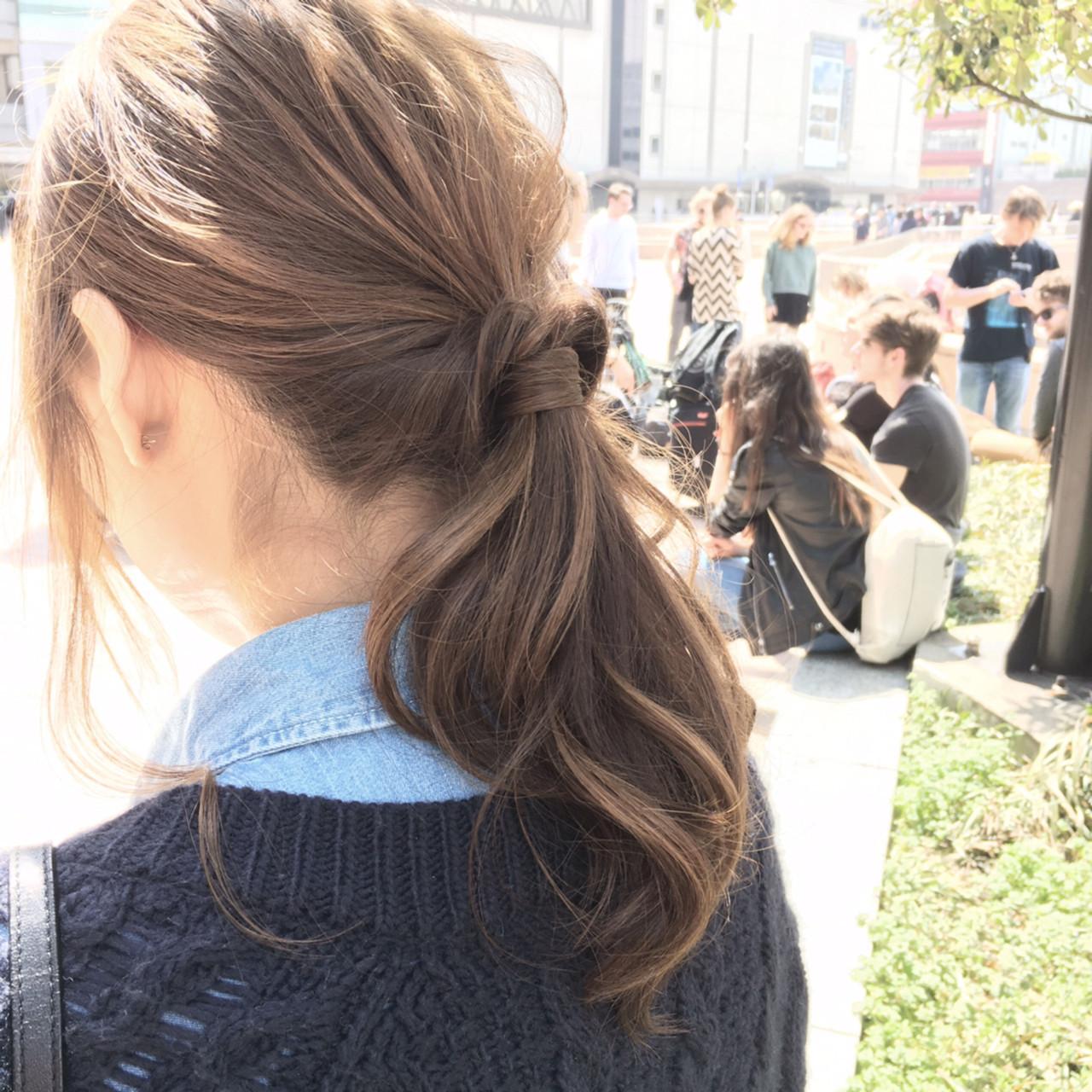 ヘアアレンジ 簡単ヘアアレンジ ポニーテール ミディアム ヘアスタイルや髪型の写真・画像