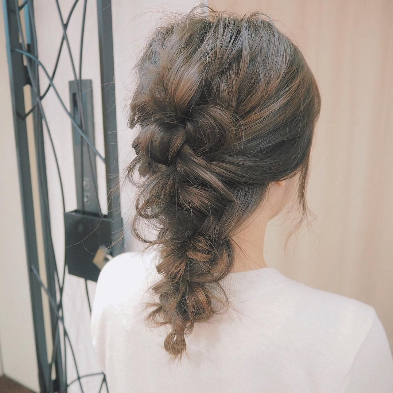 簡単ヘアアレンジ ヘアアレンジ ミディアム 編み込み ヘアスタイルや髪型の写真・画像