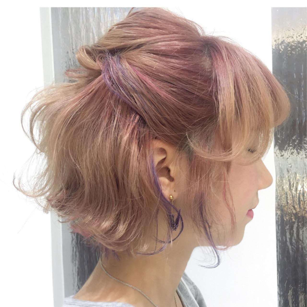 ストリート 簡単ヘアアレンジ インナーカラー 色気 ヘアスタイルや髪型の写真・画像