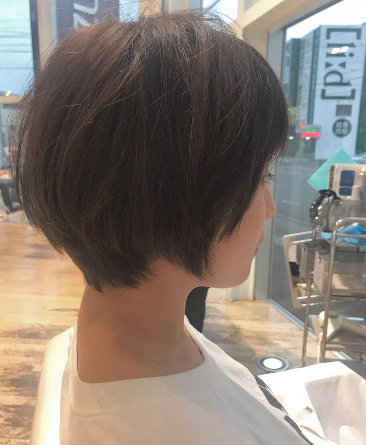 リラックス ショートボブ ショート 小顔 ヘアスタイルや髪型の写真・画像