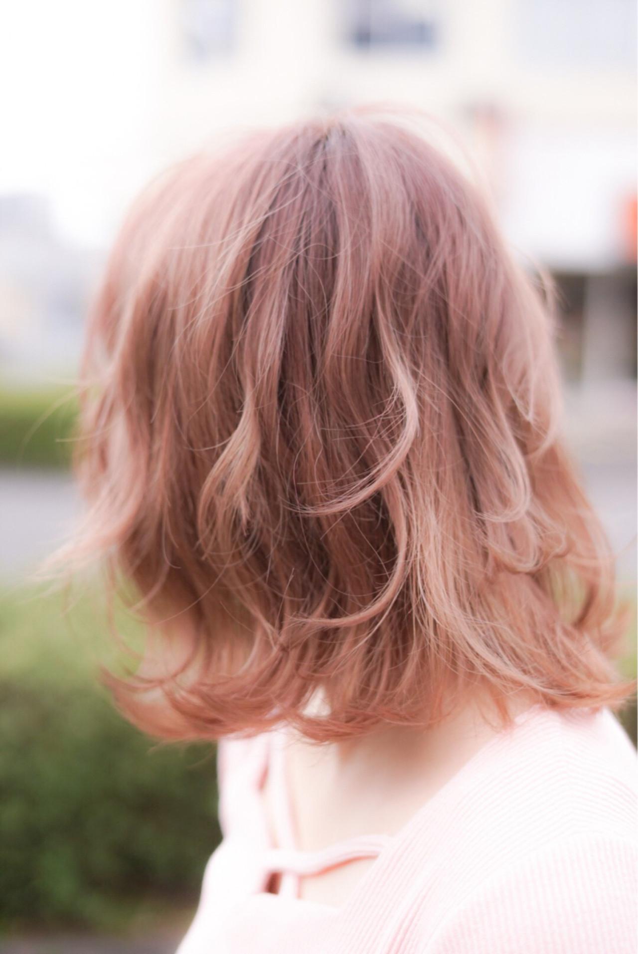 春 フェミニン ミディアム ヘアスタイルや髪型の写真・画像