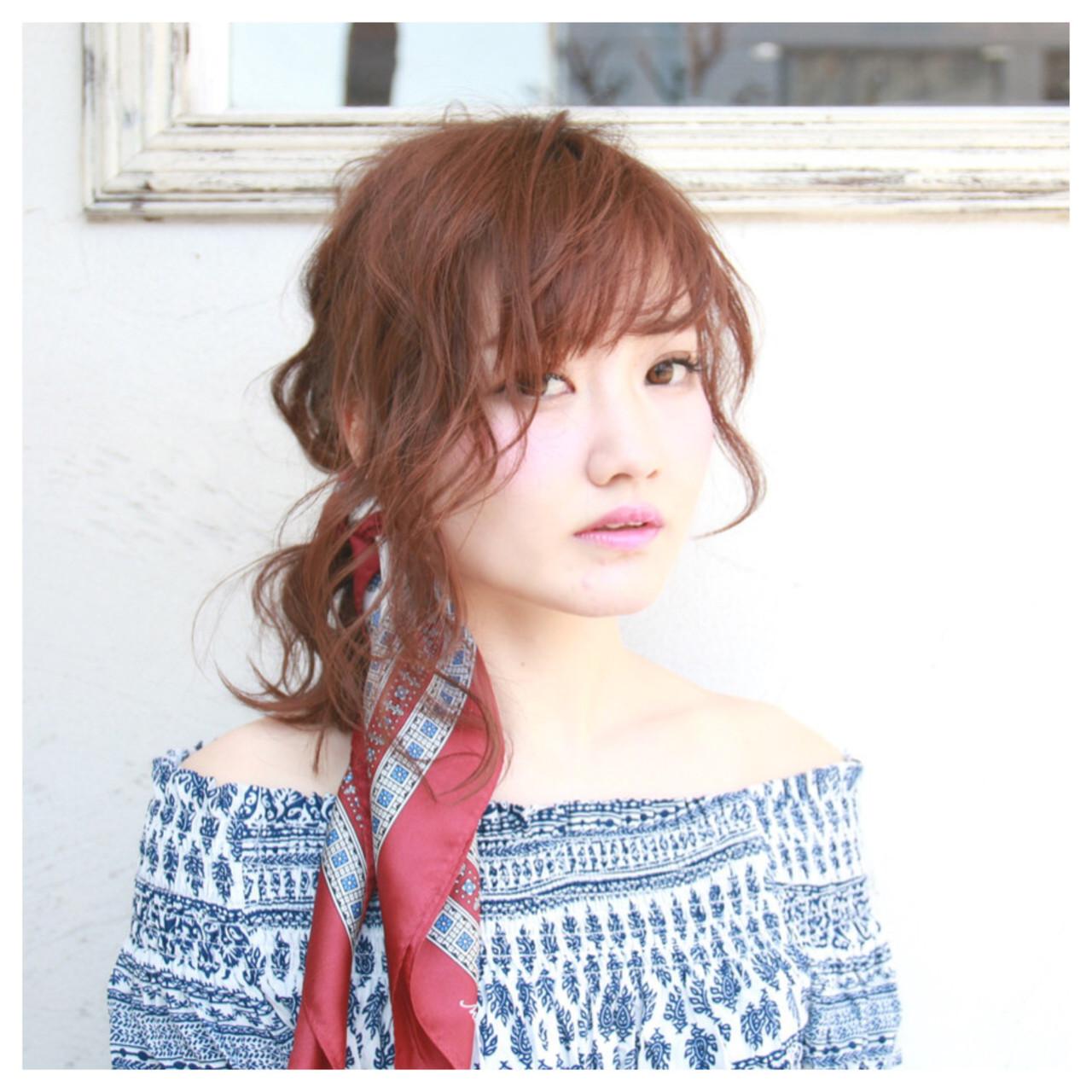ハーフアップ フィッシュボーン デート ミディアム ヘアスタイルや髪型の写真・画像