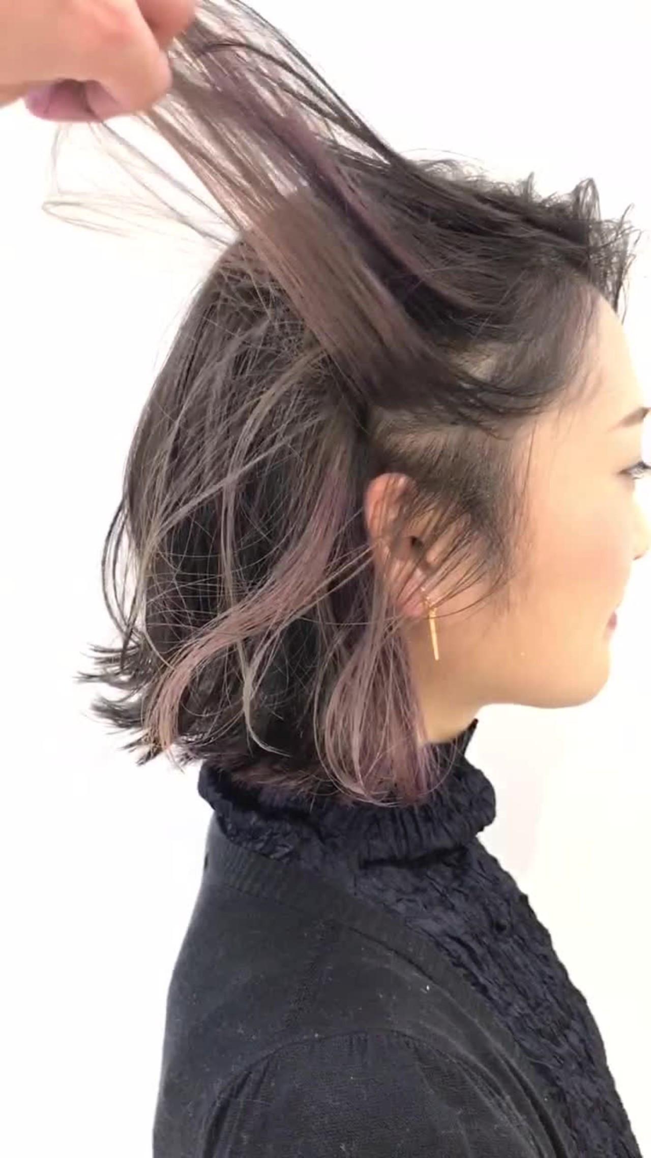 ピンク ストリート 外ハネ ボブ ヘアスタイルや髪型の写真・画像