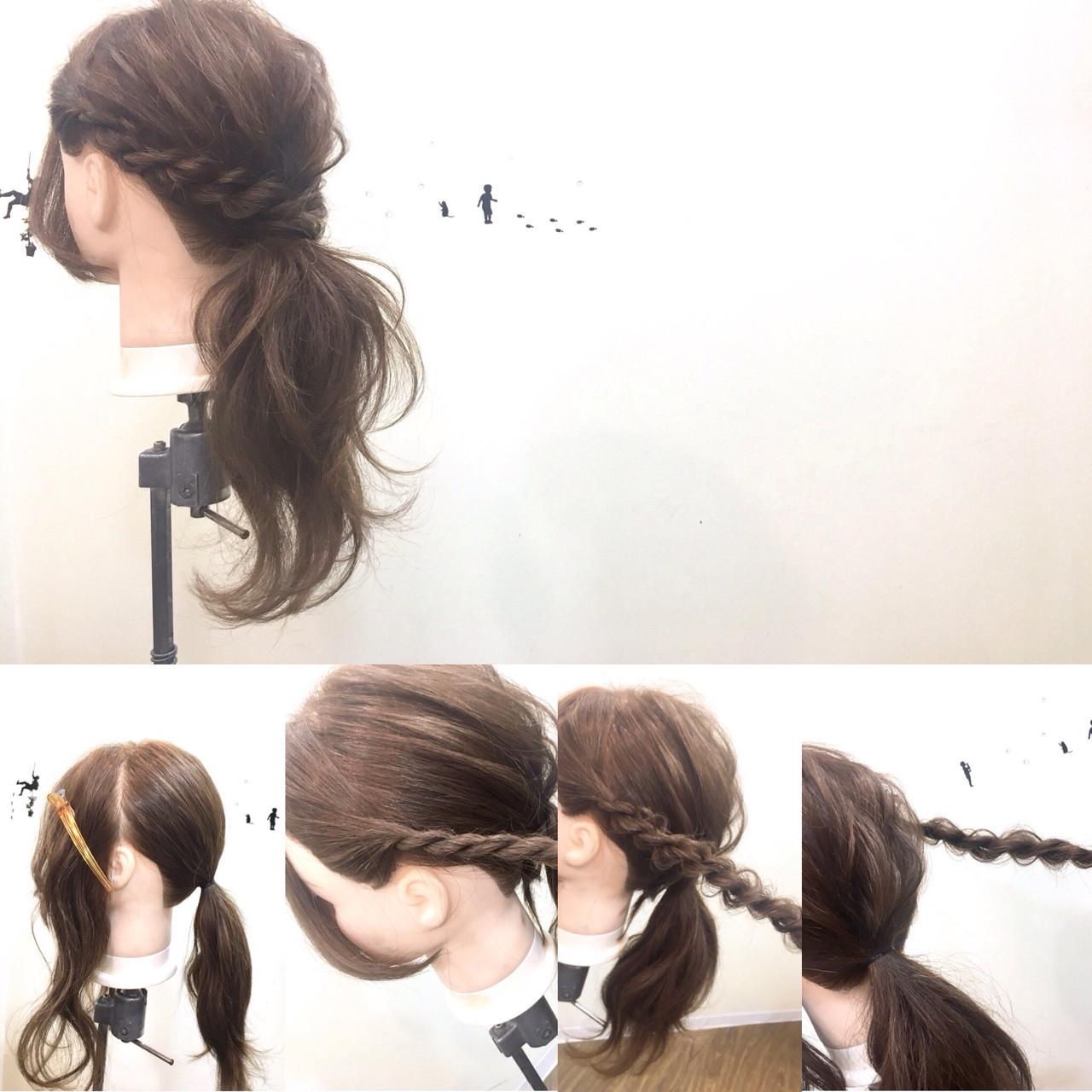 大人女子 ロング フェミニン ローポニーテール ヘアスタイルや髪型の写真・画像