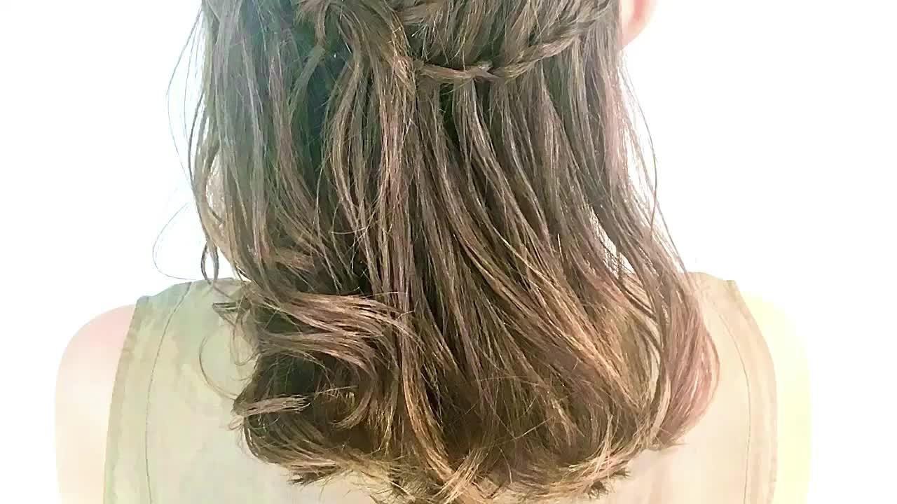女子会 ヘアアレンジ 編み込み セミロング ヘアスタイルや髪型の写真・画像