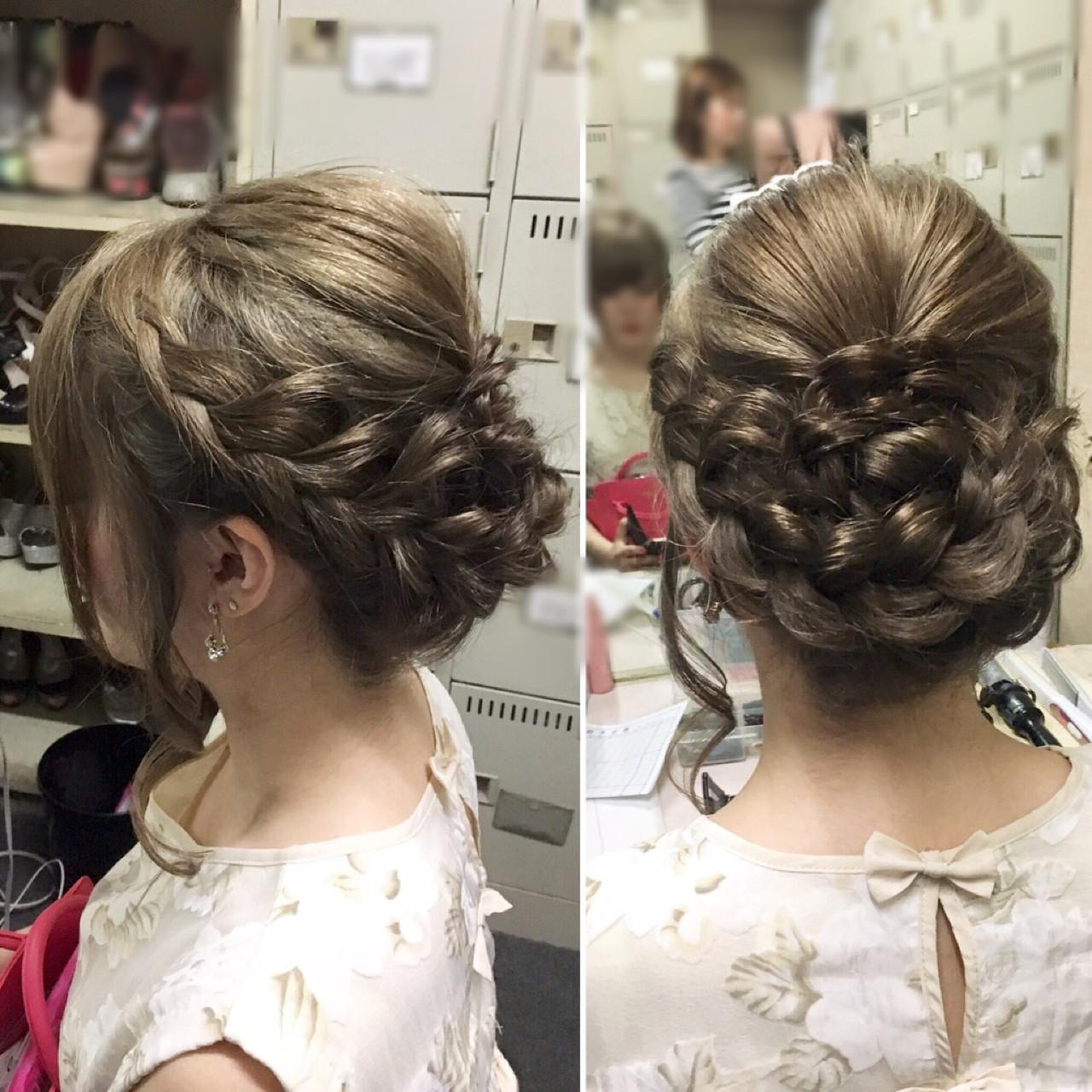 編み込み フェミニン ヘアアレンジ ミディアム ヘアスタイルや髪型の写真・画像