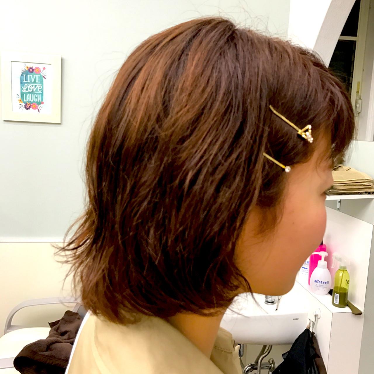 ガーリー 外ハネ ボブ ピンク ヘアスタイルや髪型の写真・画像