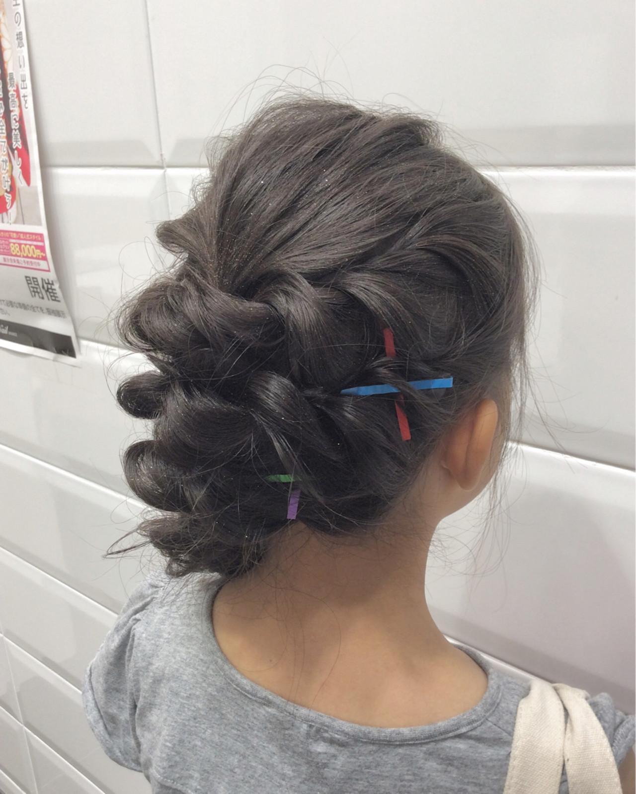 子供 ロング ヘアアレンジ ヘアピン ヘアスタイルや髪型の写真・画像