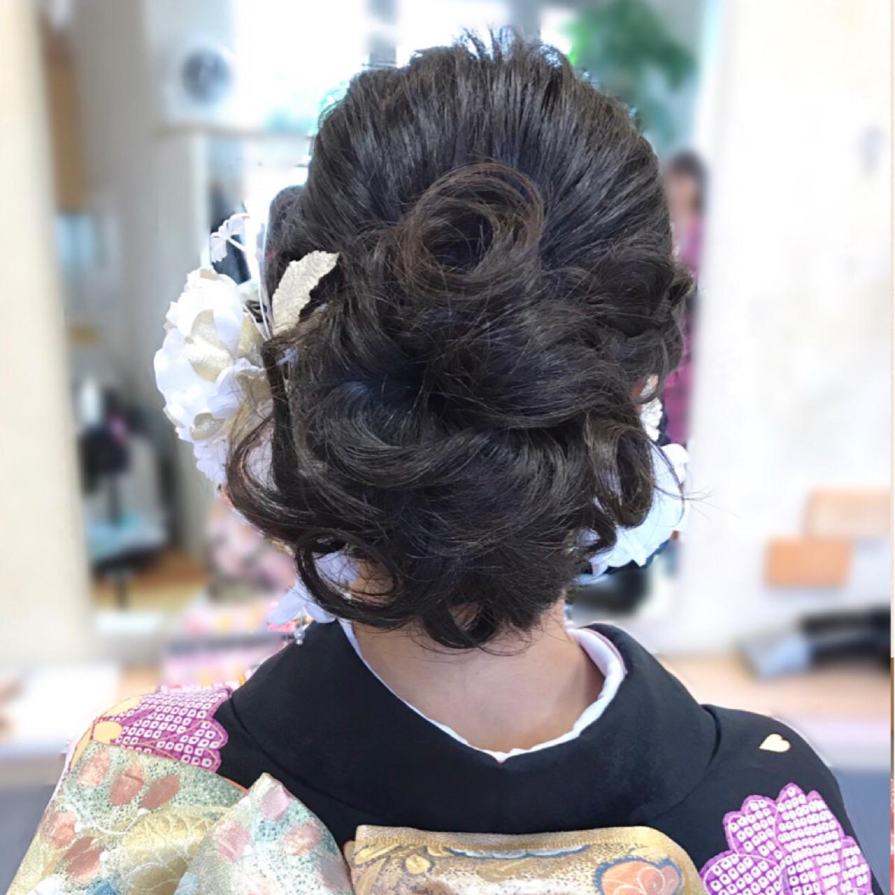 ロング 着物 エレガント 上品 ヘアスタイルや髪型の写真・画像