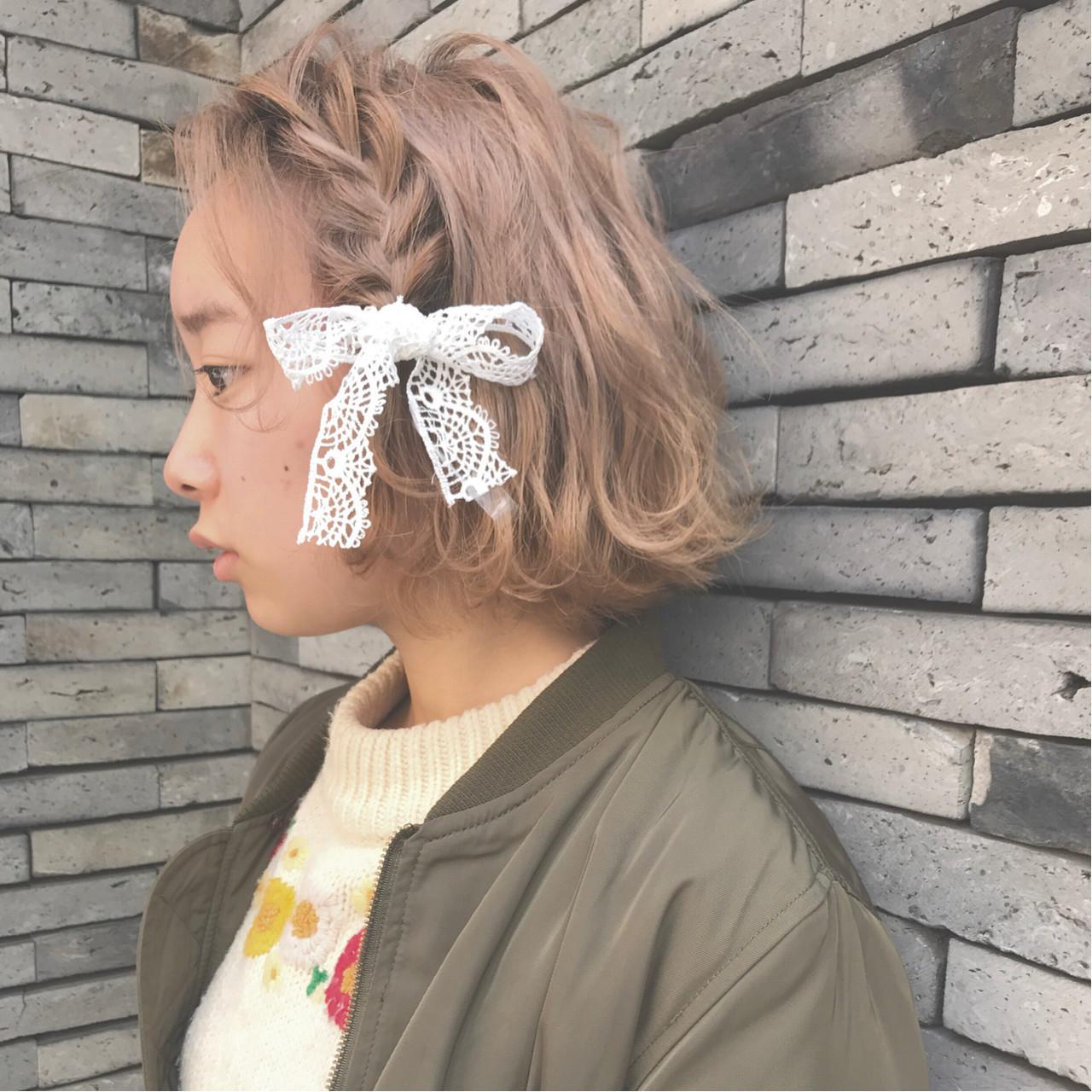 ボブ 編み込み ガーリー ヘアアレンジ ヘアスタイルや髪型の写真・画像