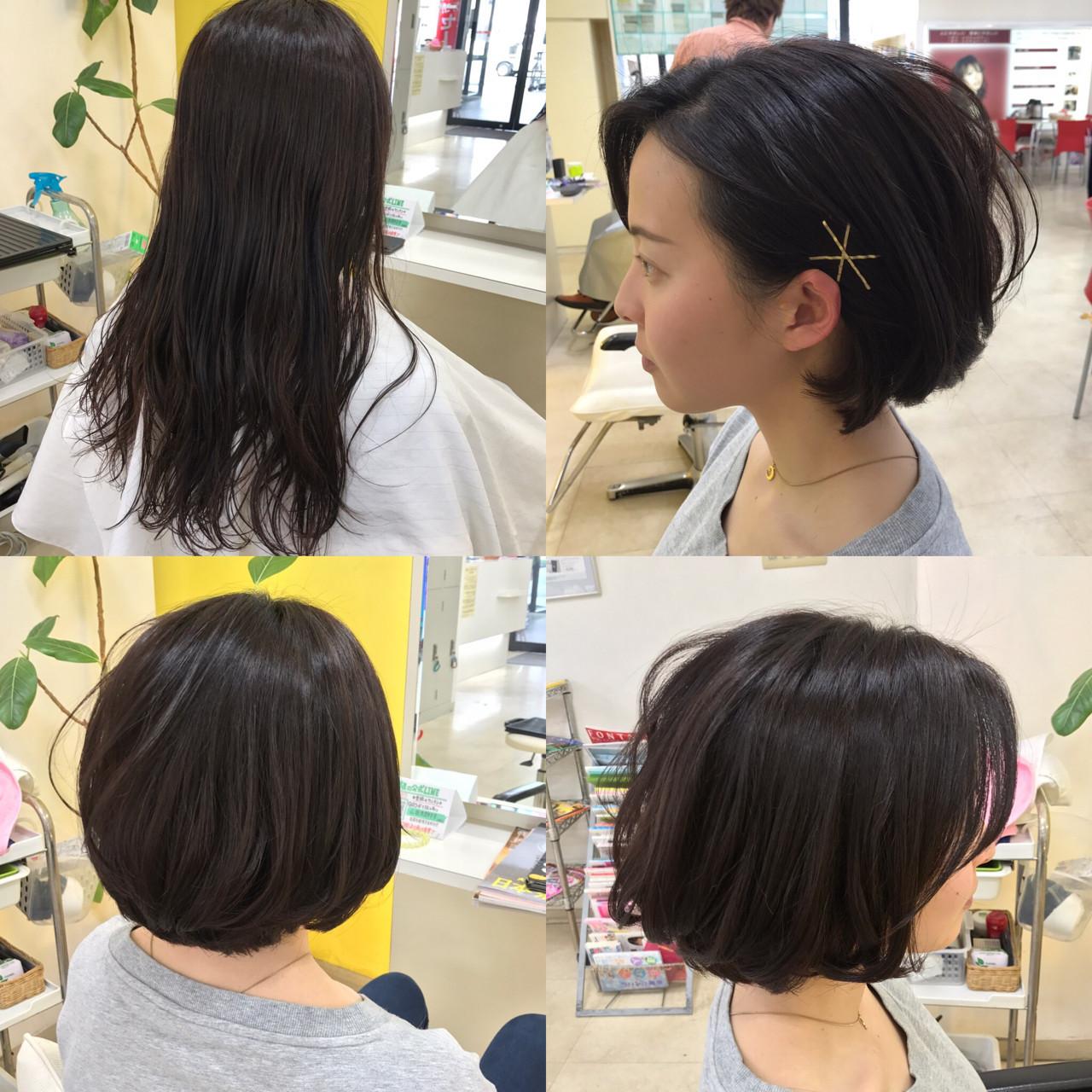 ボブ ナチュラル ヘアアクセ 簡単ヘアアレンジ ヘアスタイルや髪型の写真・画像