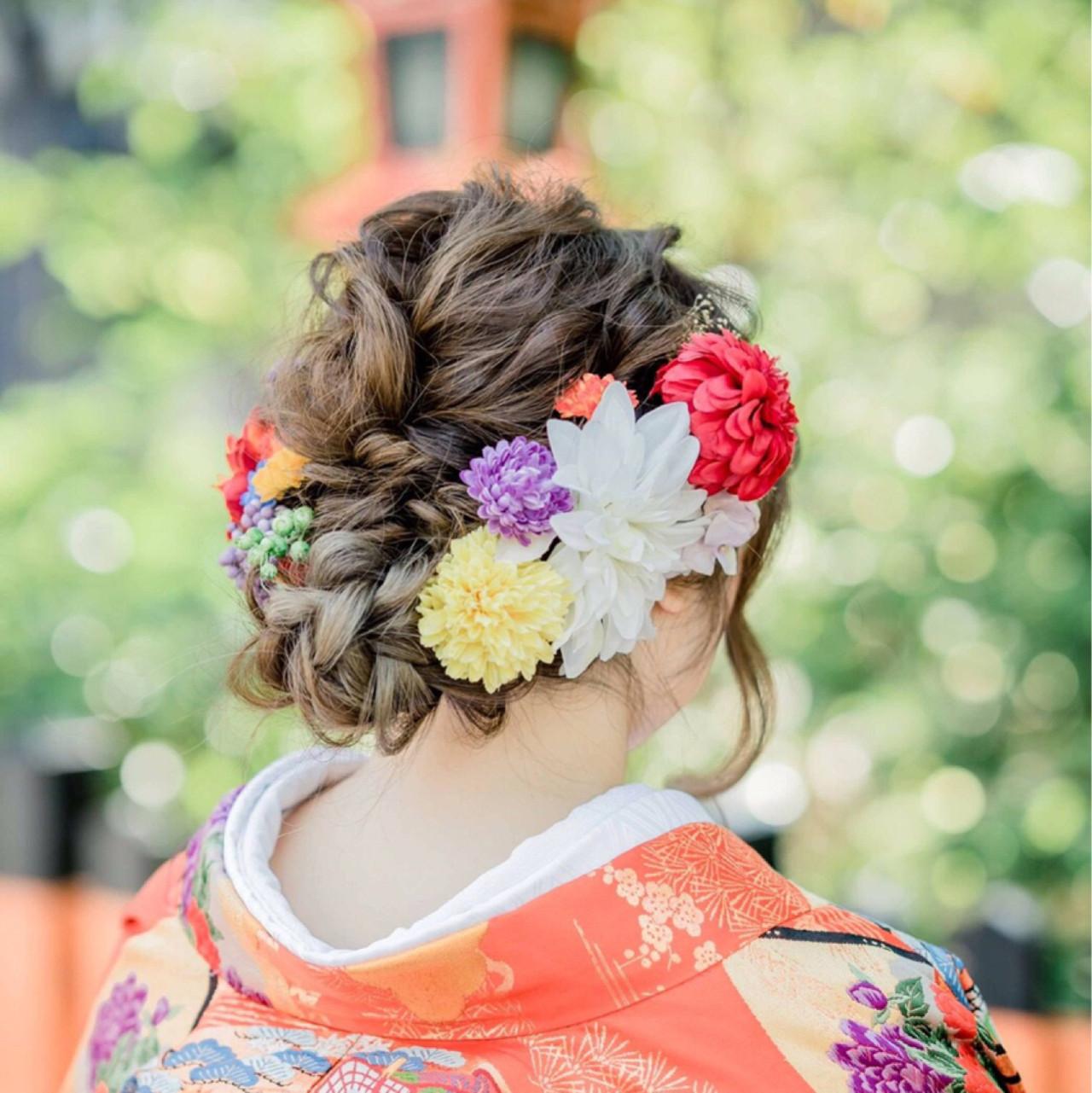 成人式 アッシュ ロング ヘアアレンジ ヘアスタイルや髪型の写真・画像
