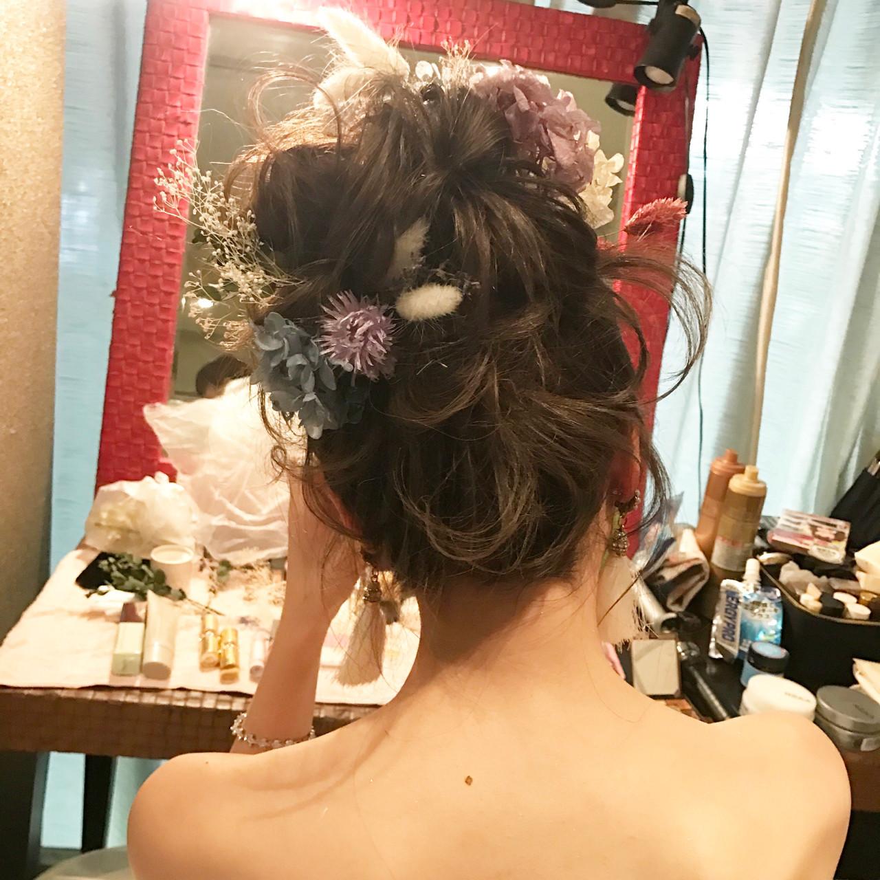ブライダル フェミニン ロング お団子 ヘアスタイルや髪型の写真・画像