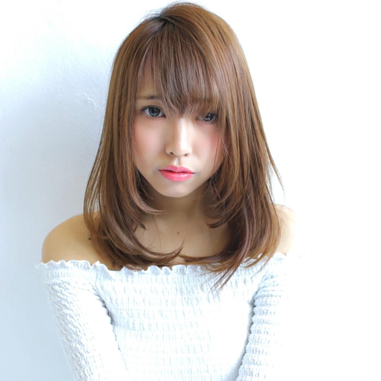 パーマ 縮毛矯正 ミディアム デート ヘアスタイルや髪型の写真・画像