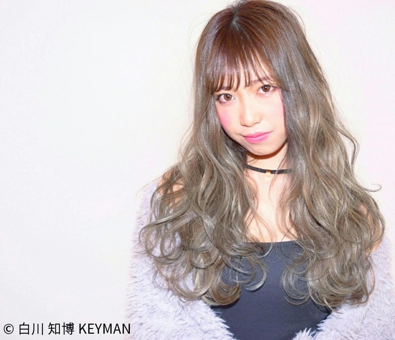 大人女子 ロング ニュアンス シースルーバング ヘアスタイルや髪型の写真・画像