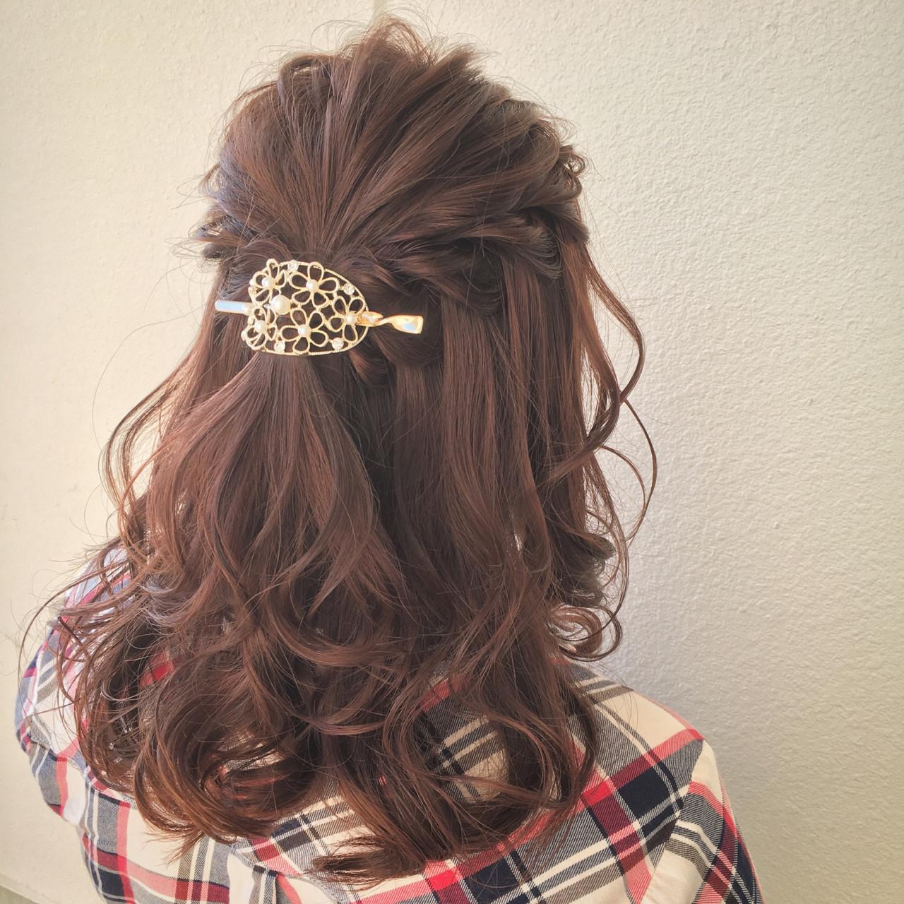 大人女子 ミディアム ヘアアクセ ヘアアレンジ ヘアスタイルや髪型の写真・画像