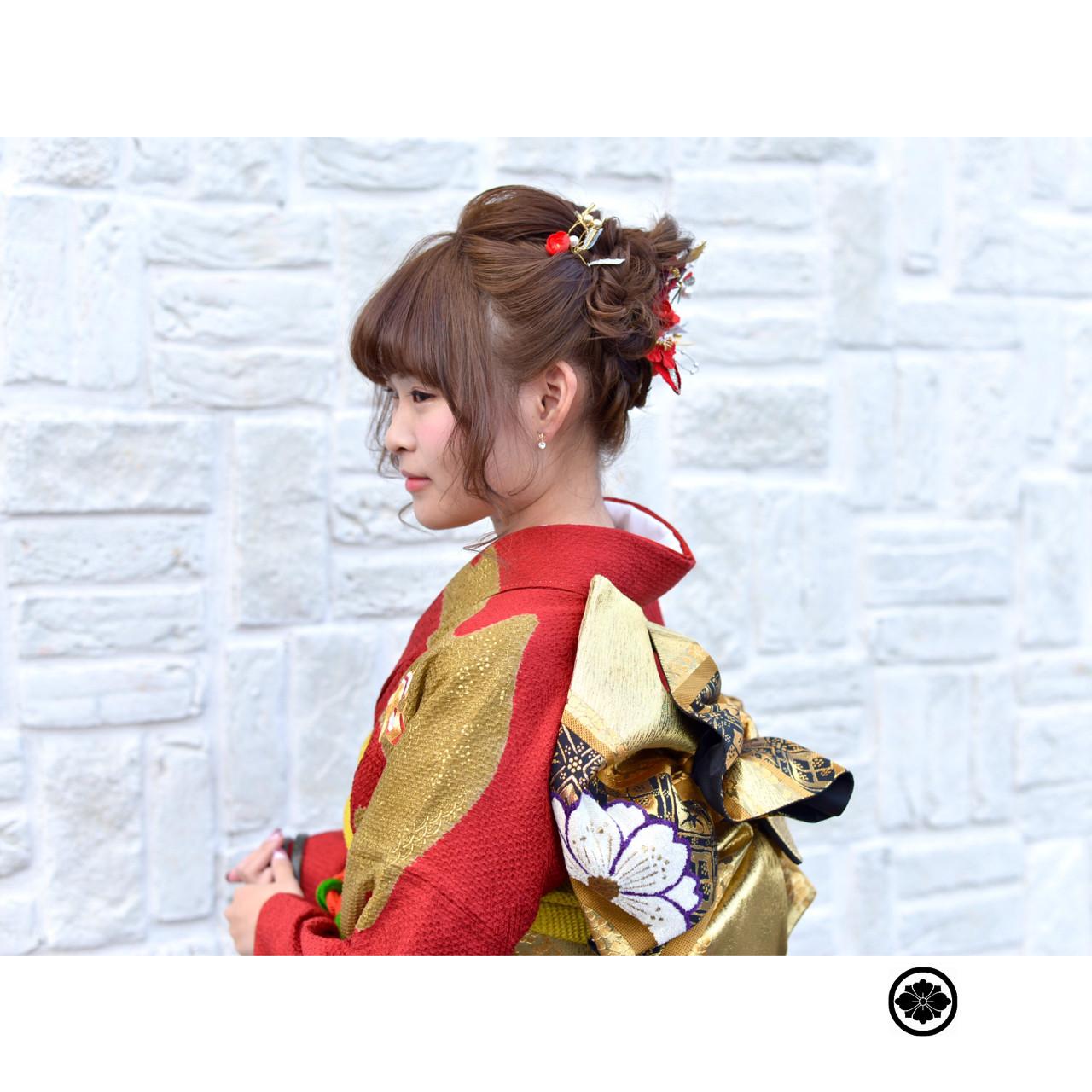 成人式 ゆるふわ ショート ヘアアレンジ ヘアスタイルや髪型の写真・画像