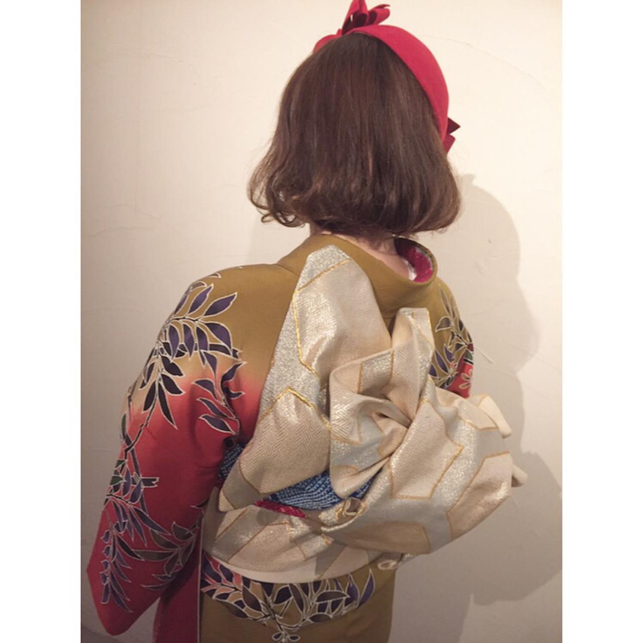 ヘアアレンジ 着物 ミディアム 成人式 ヘアスタイルや髪型の写真・画像