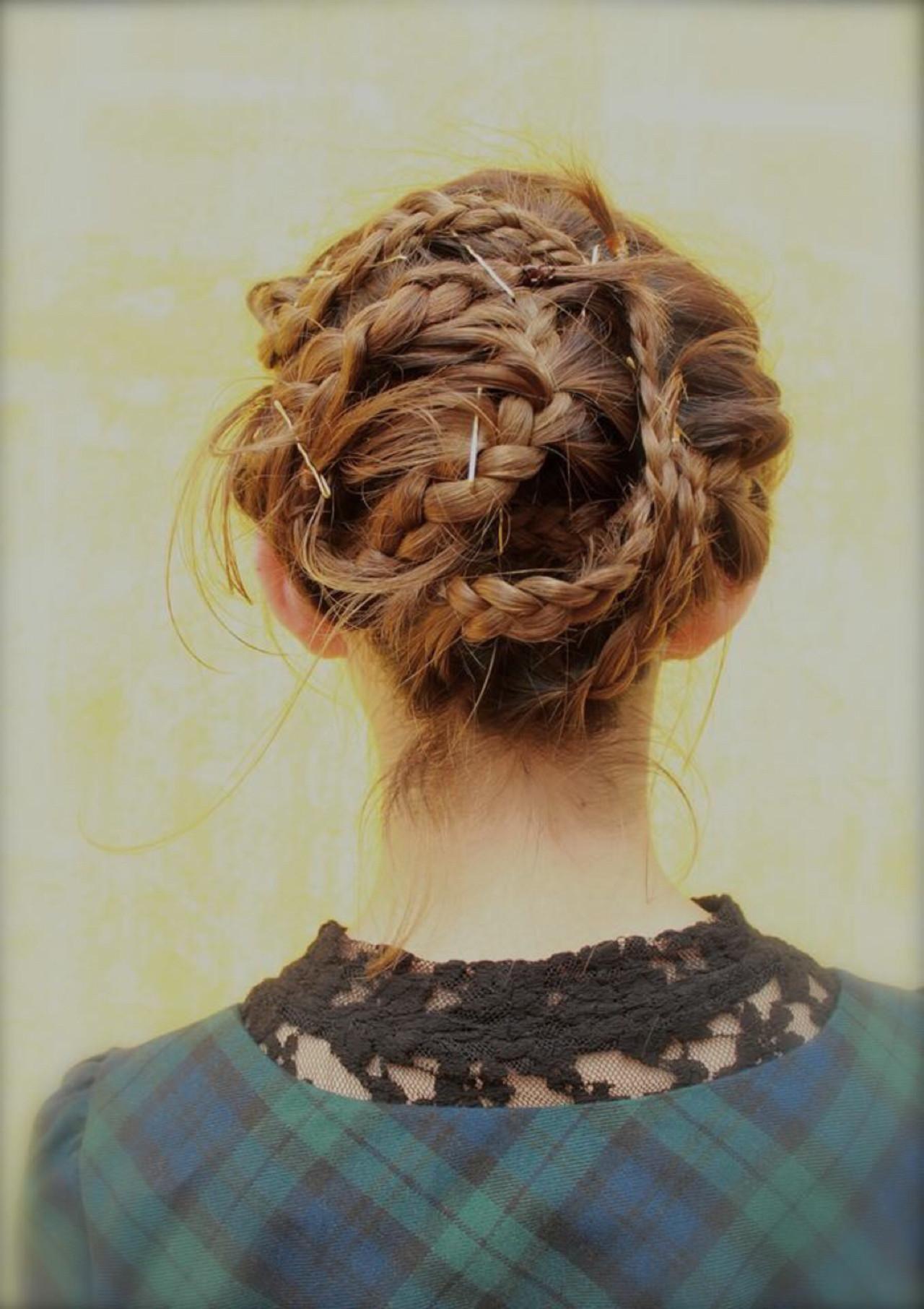 ヘアアレンジ 三つ編み ボブ 前髪あり ヘアスタイルや髪型の写真・画像