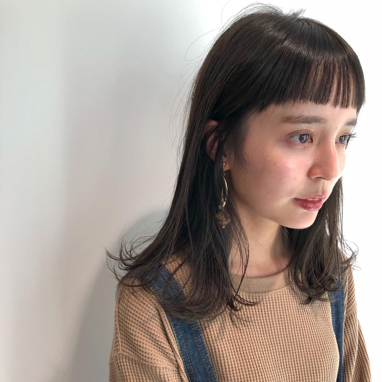 伸ばしかけもOK!オン眉の大人愛されミディアムヘア♡ 磯田 基徳