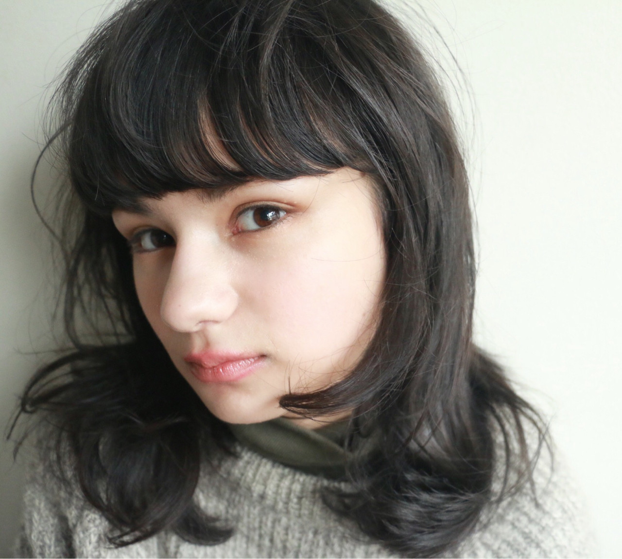 黒髪 ミディアム モード 暗髪 ヘアスタイルや髪型の写真・画像