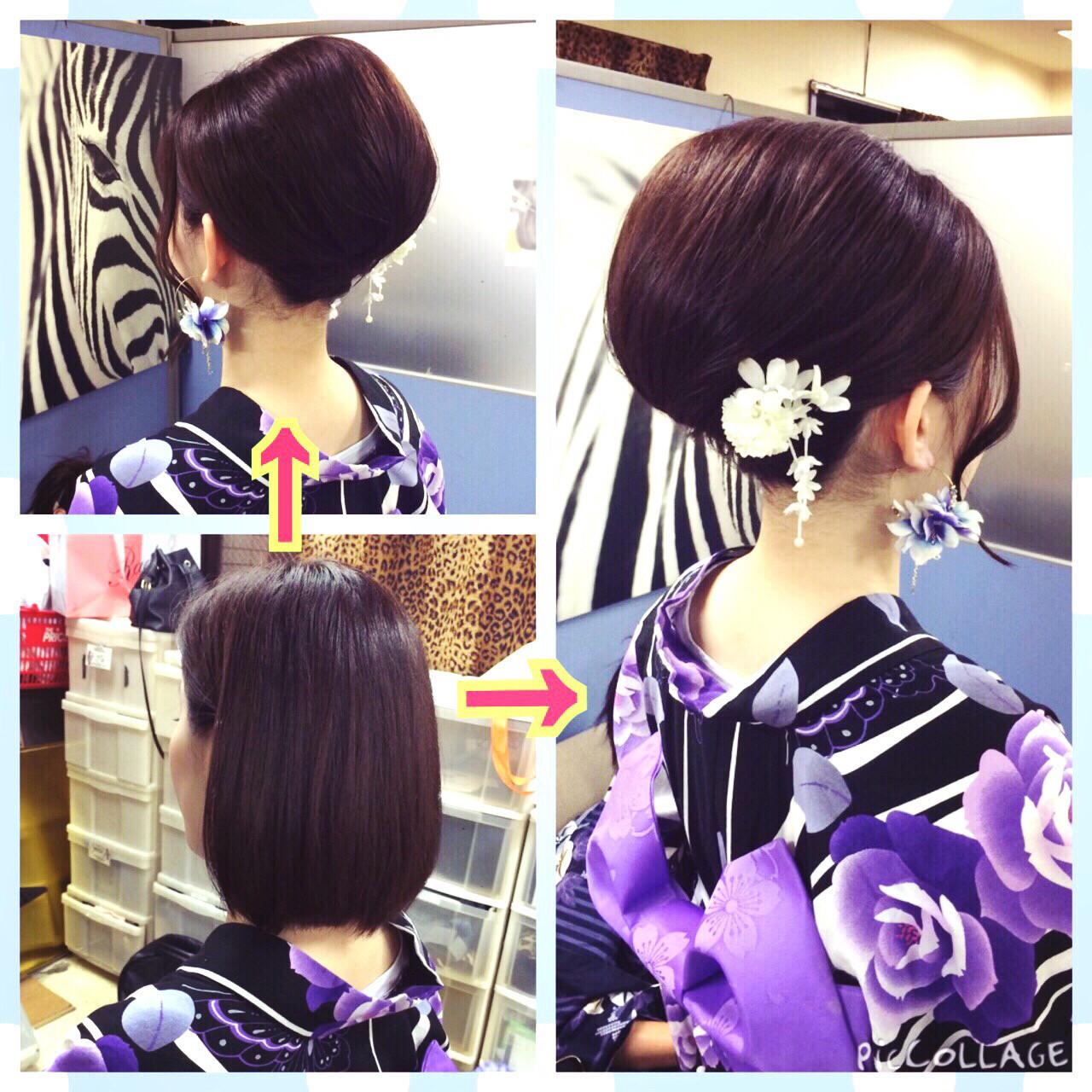 ミディアム 花火大会 エレガント アップスタイル ヘアスタイルや髪型の写真・画像