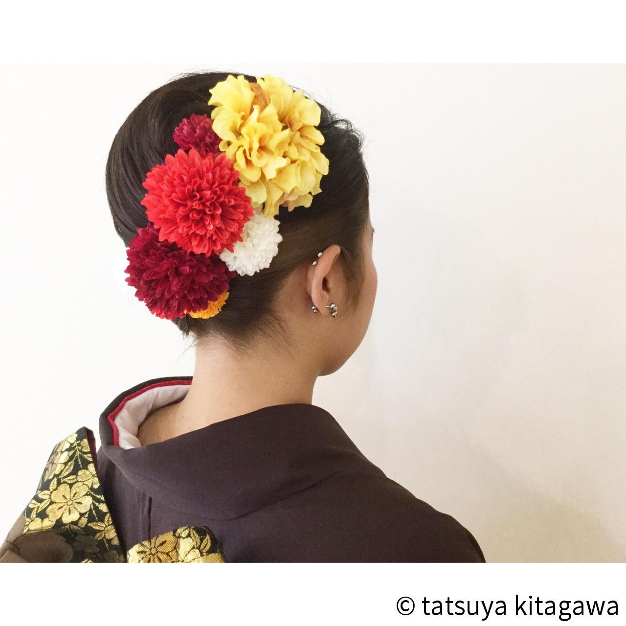 ハイライト セミロング 成人式 袴 ヘアスタイルや髪型の写真・画像