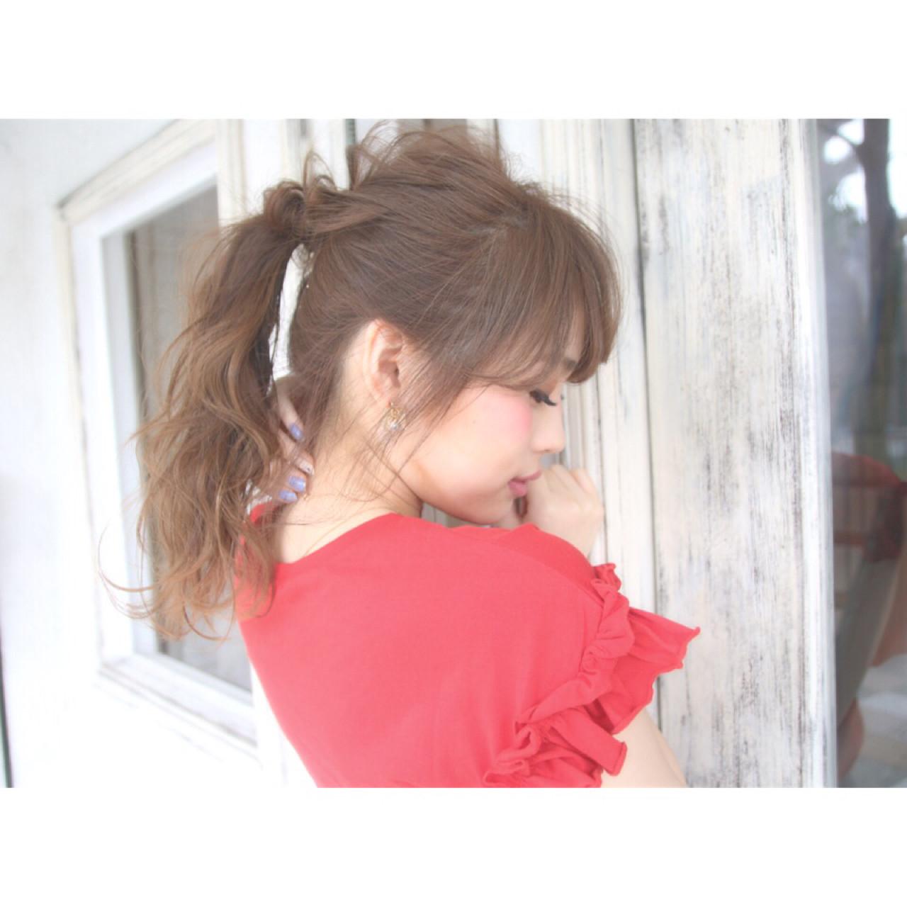 デート ロング ヘアアレンジ フェミニン ヘアスタイルや髪型の写真・画像